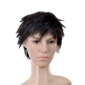 Short Flip Out Black Mens Wigs
