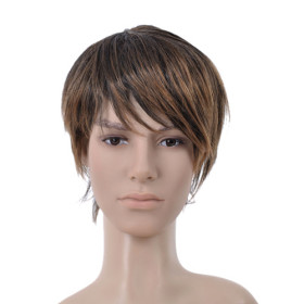 Dark Brown Hair Extension Side Bang Mens Wigs
