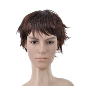 Curl Up Short Dark Brown Mens Wigs