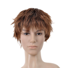 Brown Heat Resistant Hair Extension Mens Wigs