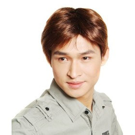 Smooth Short Golden Brown Mens Wigs