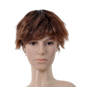 Brown Hair Extension Neat Bang Mens Wigs