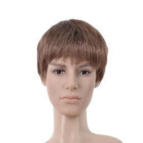 Capless Brown Straight Mens Wigs