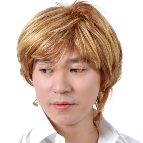 Shoulder Length Blonde Without Layer Mens Wigs