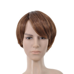 Short Straight Brown Side Bang Mens Wigs