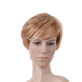 Short Golden Brown Curly Mens Wigs